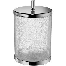 Crackle Glass Bathroom Accessories by Addition Crackled Glass Round Wastebasket Trash Can For Bath Kitchen