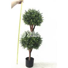 Bay Tree Topiary 5ft Outdoor Uv Protection Artificial Boxwood Topiary Double Ball