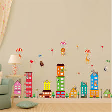 online get cheap wall decals build aliexpress com alibaba group 90x60cm pvc cartoon house wall stickers paper art wall decals animals building removable sticker living room