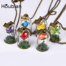wish bottle necklace images Houbian 10 pcs lot wholesale glass dried flower wishing bottle jpg