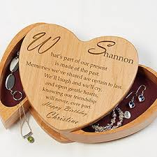 engraved box personalized heart shaped wood jewelry box with friend poem