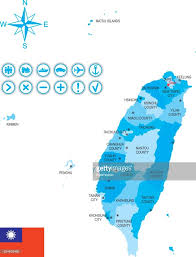 Map Of Taiwan Map Of Taiwan With Flag Icons And Key Vector Art Getty Images