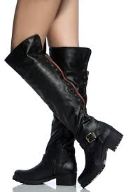 heeled biker boots black faux leather studded knee high biker boots cicihot boots