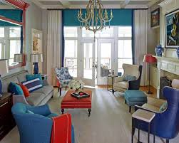 cute red and blue living room for home interior design models with