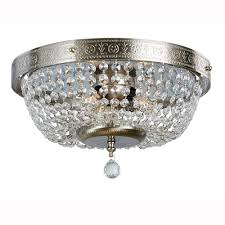 hampton bay 3 light brushed nickel flushmount with crystal accents
