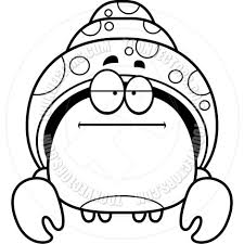 cartoon little hermit crab bored black and white line art by