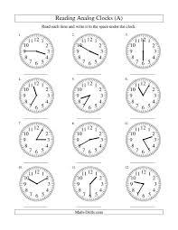 reading a clock worksheet worksheets