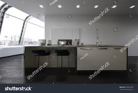 modern open plan kitchen center island stock illustration
