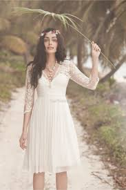 v neck lace white bridesmaid dresses in knee length