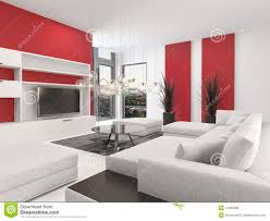 contemporary living room interior with red accents stock