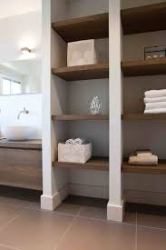 modern bathroom with white tall linen side cabinet and high