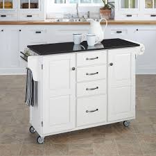 home styles create a cart white kitchen cart with black granite
