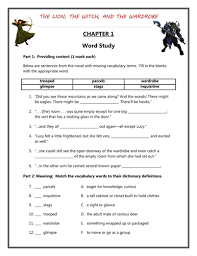 the lion the witch and the wardrobe worksheets by nimechoka