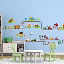 Cars Wall Mural by Cartoon Cars Road Tree Wall Sticker Decal Diy Murals Kids Nursery