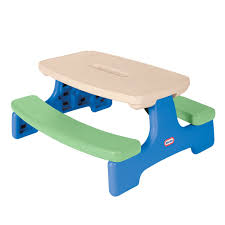 easy store picnic table with umbrella blue green