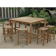 Patio High Top Table Square Teak Patio Hi Top Table And Backless Stool Set