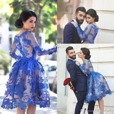 royal blue sheer long sleeves lace cocktail dresses 2017 elegant