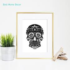 sugar skull art print black skull art all saints u0027 day wall poster