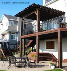Timber Pergola Kits by Timber Framed Attached Pergola Over A Deck And Built In Timber