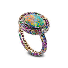 coloured gemstones rings images Chromantic ring black opal and multi coloured gemstone ring set in png