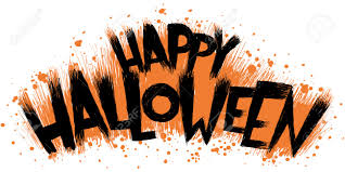 spooky cartoon text of the words happy halloween royalty free