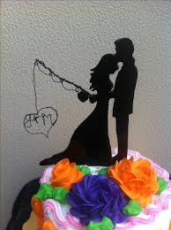 fisherman cake topper buy a custom silhouette wedding fisherman cake topper