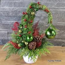 grinch tree christmas grinch small floral arrangment funky petals flower