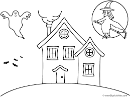 haunted house with witch coloring page halloween