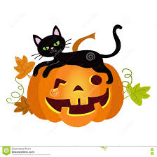 halloween kitties background halloween kitty cat and funny pumpkins vector illustration stock