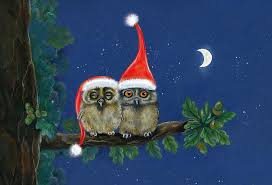 owl christmas two owls with christmas caps painting by marina durante