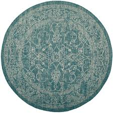 Safavieh Outdoor Rugs Safavieh Courtyard Turquoise 6 Ft 7 In X 6 Ft 7 In Indoor