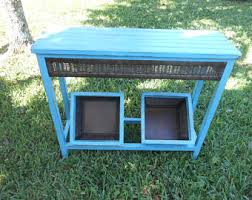 Teal Accent Table Distressed Accent Table Etsy