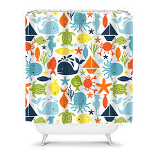 Shower Curtains With Fish Theme Brother Sister Children Kids Shower Curtain Shared Bathroom Decor