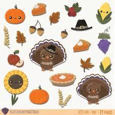 thanksgiving clipart set kawaii thanksgiving clip images