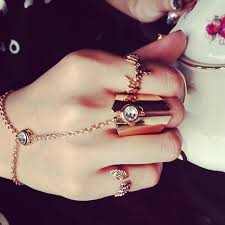 ring with chain bracelet images Aiwgx 2016 fashion bracelet ring connected women fashion hand cuff jpg