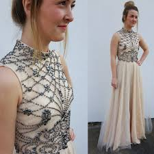 charming floor length prom dress light champagne high neck with