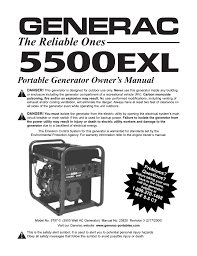 generac 5500exl user manual 20 pages