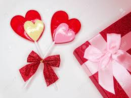 s day lollipops gift box and two hearts lollipops s day stock photo