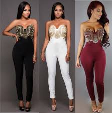 white and gold jumpsuit nightclub chest gold embellish strapless sleeveless jumpsuits