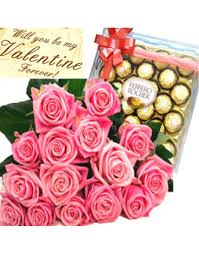 flowers and chocolate philgifts missing you in boquet with ferrero rocher