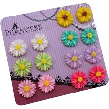 mixed 7 color daisy flower magnetic stud earrings for teen girls