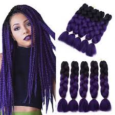 purple hair extensions 24 ombre synthetic black purple kanekalon jumbo braiding hair
