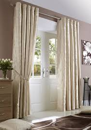 Silk Draperies Ready Made Cream Midtown Embroidered Faux Silk Fully Lined Eyelet Curtains