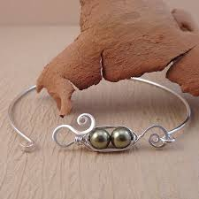 bangle bracelet with pearl images Pea pod bangle bracelet perfections handmade jewelry jpg