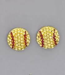 post style earrings softball rhinestone post style earrings