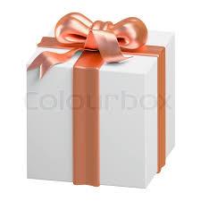 copper ribbon 3d gift box copper ribbon design object isolated stock photo