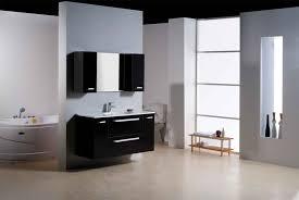 mini black bathroom storage cabinet in white wall room divider