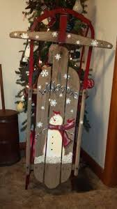 71 best handpainted snowman wooden sleigh images on