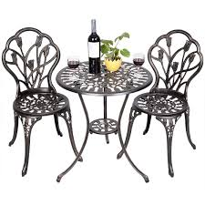 Cast Aluminium Garden Table And Chairs Fds Tulip Garden Bistro Set 3 Piece Cast Aluminium Table U0026 2