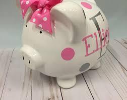 customized piggy bank baby girl piggy bank etsy